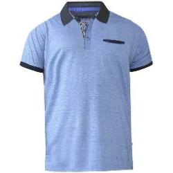 D555 Fine Woven Polo with Textured collar and  pocket LIGHT BLUE