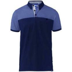 D555 Short Sleeve Polo Shirt with Print Panel Shoulders and Sleeves JAURAM NAVY 4 - 8XL