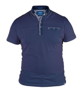 D555  Soft Cotton Polo with Double Collar NAVY BRET