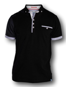 D555 Fashion Stretch Polo with woven collar ROLAND BLACK