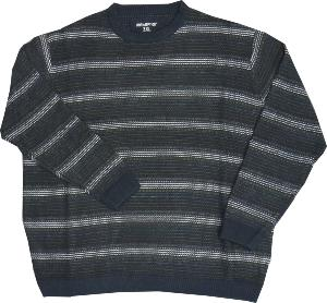 METAPHOR Casual Chunky Multi Knit Crew neck sweater NAVY 5XL