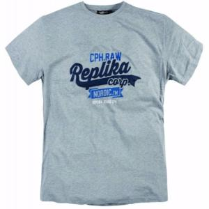 REPLIKA JEANS Printed Logo Tee Shirt GREY 7XL