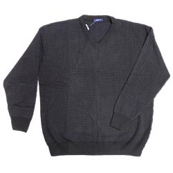 INVICTA Chequered Vee Neck Sweater  BLACK/CHARCOAL