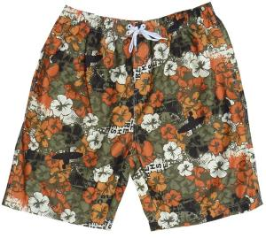 ED BAXTER Hawaiian Print Swim shorts ORANGE/KHAKI 2XL