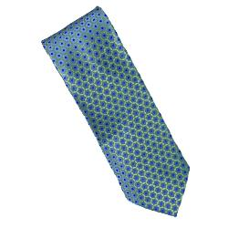 DOUBLE TWO Extra Long Tie  BLUE/YELLOW PATTERNED