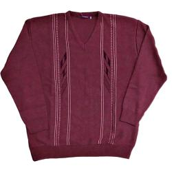 NEW - INVICTA Vee Neck Jacquard Pullover WINE RED 3 - 5XL
