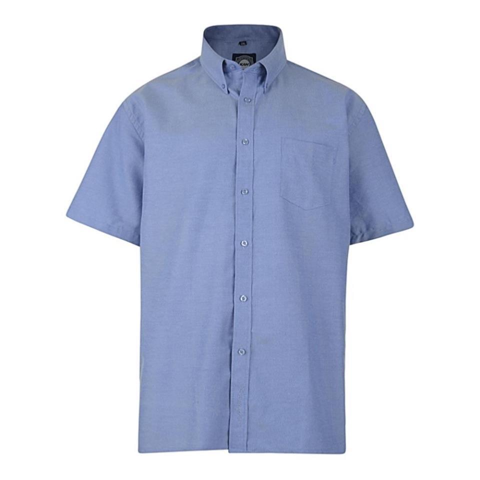 Mens Big Plus Size Office Suit Plain Oxford Short Sleeved Button  Collar Shirt