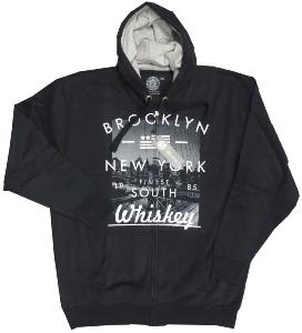 SALE - KAM Print Hooded Sweatshirt with Full length Zip BROOKLYN BLACK 3XL