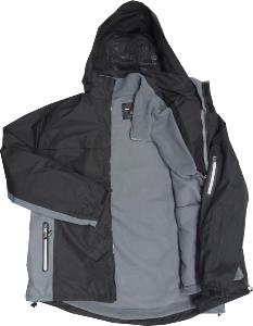 KAM 3-in-1  Waterproof Coat with  Fleece BLACK/GREY 3XL