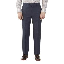 SKOPES HERITAGE LINEN BLEND TROUSERS NAVY CARLO