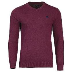 RAGING BULL COTTON CASHMERE V NECK SWEATER BURGUNDY