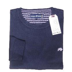 RAGING BULL COTTON CASHMERE CREW NECK SWEATER NAVY