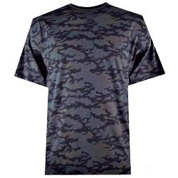 NEW - ESPIONAGE  CAMOUFLAGE  PRINT TEE  CHARCOAL 2 - 8XL