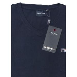 NORTH 56'4 Natural Cotton Plain Tee with Vee neck and Chest Pocket NAVY 8XL