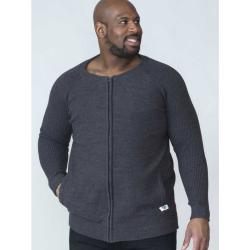 D555  CASUAL FULL ZIP SWEATER WITH RAGLAN SLEEVE XAVIER CHARCOAL MARL 2 - 5XL