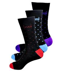 D555  Cotton rich Luxury Patterned Socks Pack of 3  BOLT  11-13 and 14-16 UK