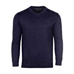 RAGING BULL KNITWEAR - Cotton Cashmere Vee Neck Sweater NAVY 3 - 6XL