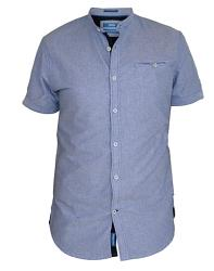 D555  Short Sleeve Oxford Collarless Shirt SKY BLUE