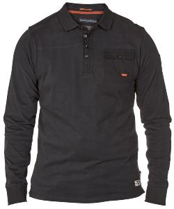 D555 Long Sleeve Polo shirt with chest pocket BLACK 6XL