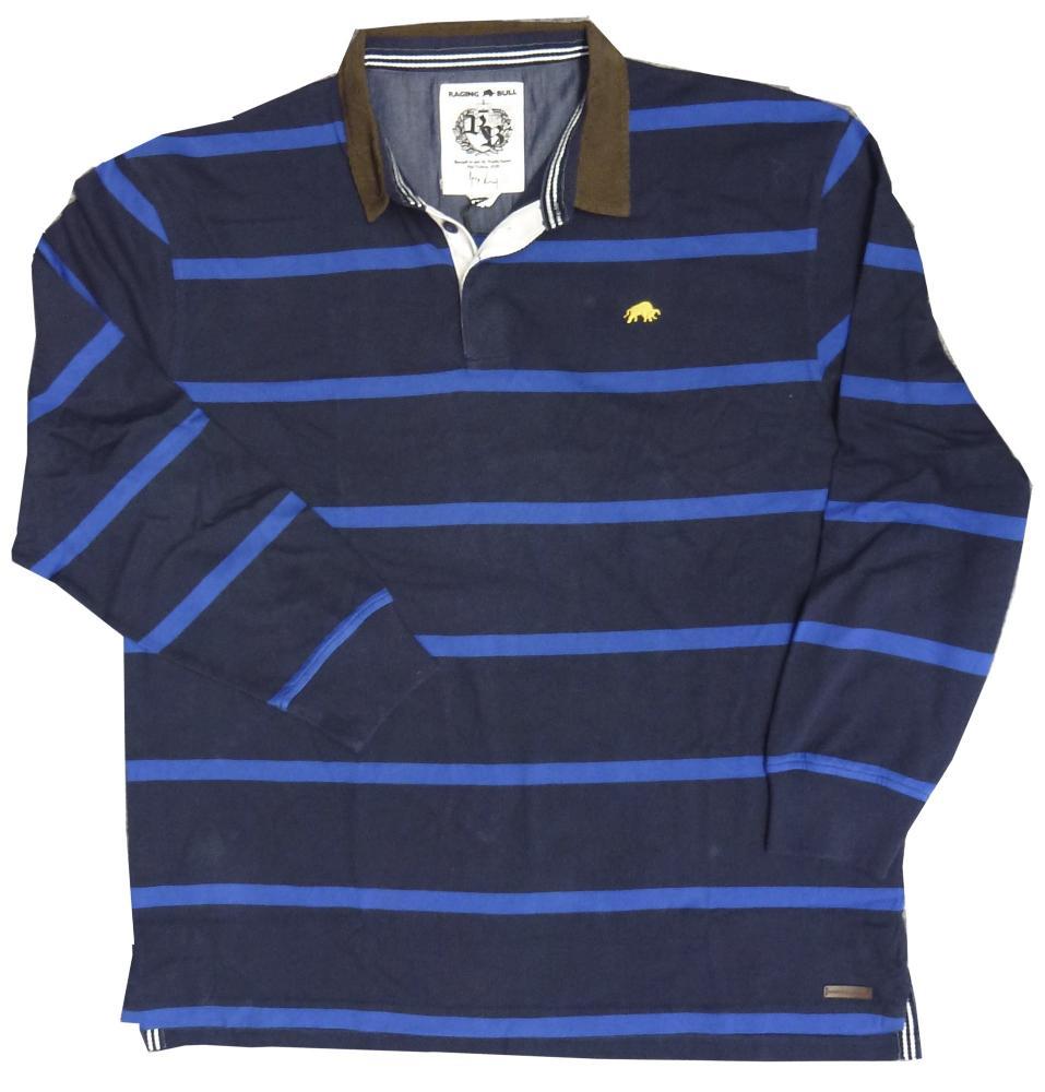8c4fe38668880 RAGING BULL Long Sleeve Striped First XV Rugby Shirt NAVY/ROYAL