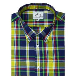 BRUTUS  Short Sleeve CHECK SHIRT WITH BUTTON DOWN COLLAR  YELLOW/BLUE/GREEN MADRAS