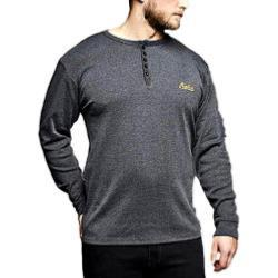 REPLIKA JEANS Long Sleeve Grandad tee GREY MELANGE