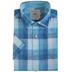 BAR HARBOUR  WOVEN CHECK SHORT SLEEVE SHIRT  TURQUOISE 2 - 5XL