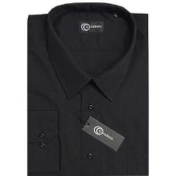 CARABOU Easy Care Long Sleeve Plain Shirt BLACK 7XL
