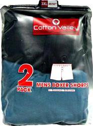 2 Pack Mens Cotton Lycra Boxer Shorts by Cotton Valley  2-8XL