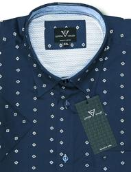 SALE - COTTON VALLEY Cotton Short Sleeve Party Shirt NAVY 2XL