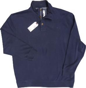 RAGING BULL Long Sleeve Sweatshirt style Casual Top with 3 button opening  NAVY
