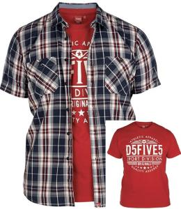 DUKE D555 Short Sleeve Check shirt and T-Shirt Combo KENNEDY 5xl
