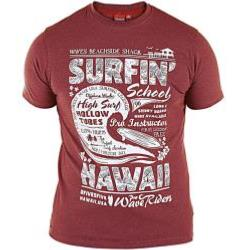 D555 Melange Tee shirt  SURFIN' SCHOOL BURGUNDY 4 - 5XL