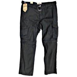 "SALE - KAM 2 - in 1 Casual Cargo Pants with ZIP OFF legs BLACK 48 - 58"" waist"