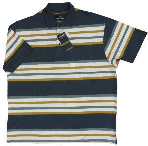 LOUIE JAMES Woven Stripe Polo with Pocket  GREEN/GOLD/IVORY