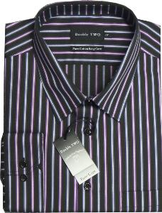 Double Two Pure Cotton Easy Care Office Shirt BLACK/GRAPE MULTI STRIPE