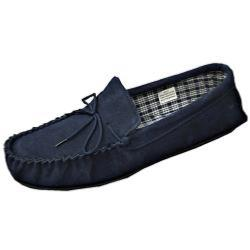 Moccasin Slippers NAVY 13 - 15 UK