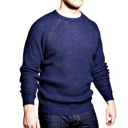 REPLIKA JEANS Chunky Knit Crew Sweater  NAVY
