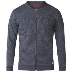 D555   FULL ZIP  STRIPED SWEATSHIRT WITH POCKETS  CHARCOAL