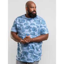 D555  BIG MENS ALL OVER HAWAIIAN PRINT  TEE   SEYMOUR BLUE MARL  2 - 6XL