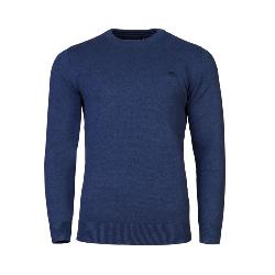RAGING BULL KNITWEAR - Cotton Cashmere Crew Neck Sweater  BLUE 3 - 6XL