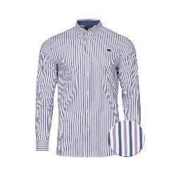RAGING BULL SHIRTS - Long Sleeve Natural Cotton Bengal Stripe PURPLE  3 - 6XL