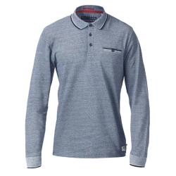 D555 LONG SLEEVE POLO WITH JACQUARD COLLAR AND CUFF  CHIGBO  NAVY  MELANGE 4 - 5XL