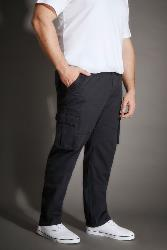 BAD RHINO RUGGED COTTON CARGO TROUSERS  Complete with  Free Canvas Belt NAVY 40- 58 S/R