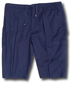 SALE - PEGASUS  Cotton Cropped Cargo Pants with comfort waist  NAVY 7XL