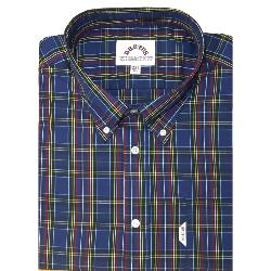 BRUTUS  Short Sleeve  CHECK SHIRT WITH BUTTON DOWN COLLAR  NAVY TARTAN