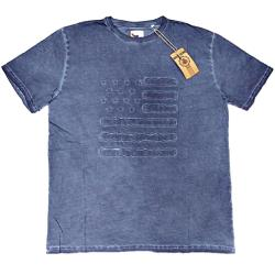 ESPIONAGE Acid Washed Tee with applique STARS AND STRIPES BLUE 4XL