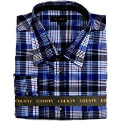 SALE - COUNTY Brushed Check Long Sleeve Shirt NAVY / RED / WHITE 2 - 8XL