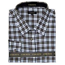 COUNTY Tattersall  Brushed Check Shirt NAVY/BROWN 6 - 7XL