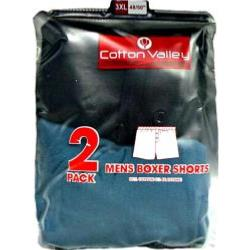 2 Pack Mens Cotton Lycra Boxer Shorts by Cotton Valley